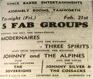 21/02/64 - The Modernaires, The Three Spirits, Johnny and the Alpines, The Sovereigns and Johnny Silver and the Cossacks - Assembly Rooms - Admission: 7/6 8.00pm-1.00am - Vince Baker Entertainments
