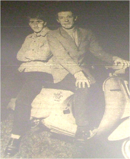 Caption: Tim Goode and Mark Mortimer…hitting the road by scooter.