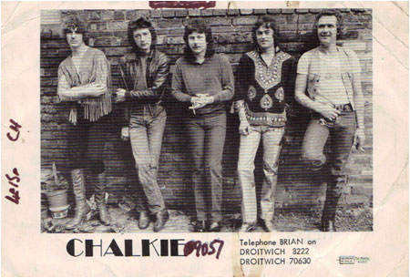 Chalkie, 1980, just befoore going to California. L to r: Jim, Derek, Bob, Ian and John.